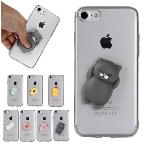 iphone se  cute soft squishy case cover rubber cat duck capinha  iphone
