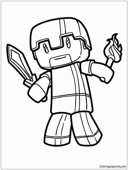 Minecraft Coloring Pages Herobrine Creeper Printable Diamond