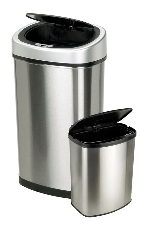 kitchen trash can itouchless itouchless 16 gallon dual compartment stainless