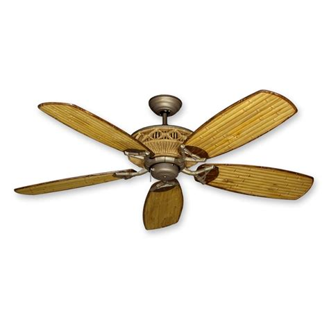 """52"""" Tiki Bamboo Ceiling Fan  Real Bamboo Blades With"""