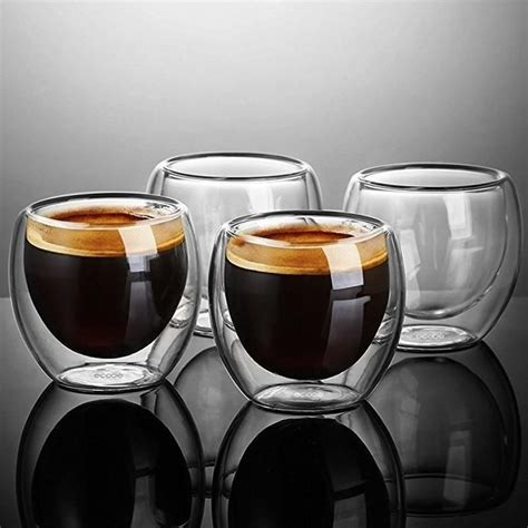 The term double, however, can no longer be assumed to be pulled on a double basket with a specific coffee yield, as the brew ratios and basket sizes have diverged so dramatically from italy to australia. 1/4/6Pcs Double Wall shot Glass double Wall Espresso ...