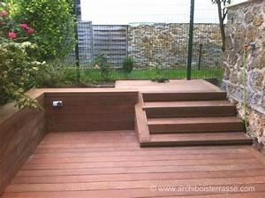 terrasse bois 2 niveaux contre terrasse avant terrasse With film sous terrasse bois
