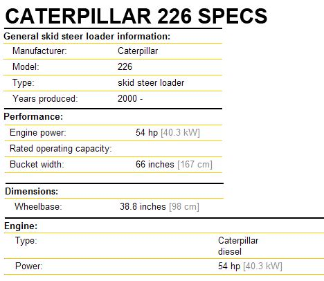 caterpillar 226 skid steer attachments specifications