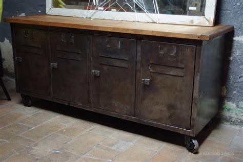 meuble cuisine en metal meuble bas industriel métal bois par le marchand d 39 oublis