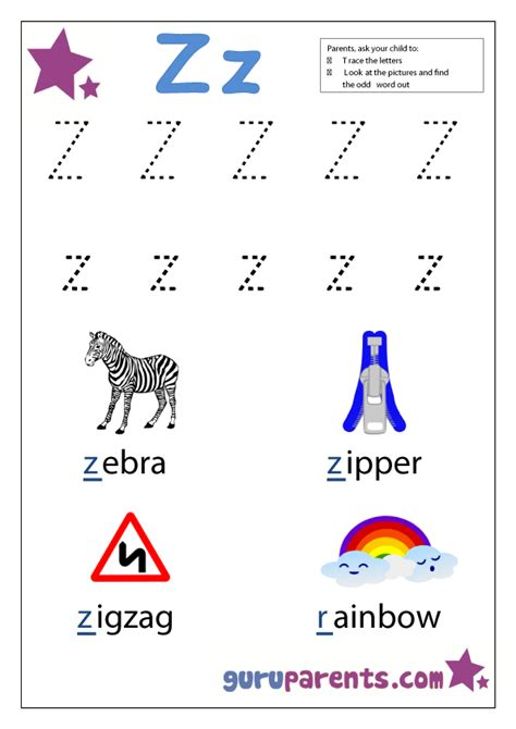 letter z worksheets guruparents 619 | preschool letter worksheet z
