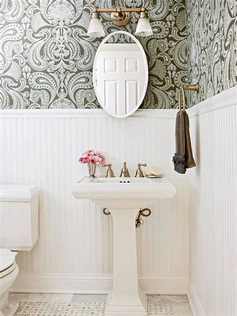 bathroom wallpaper ideas wallpaper for the powder room the inspired room Half
