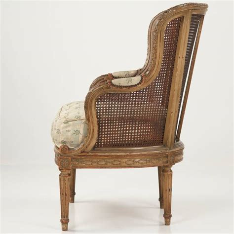 finely carved louis xvi style antique bergere arm