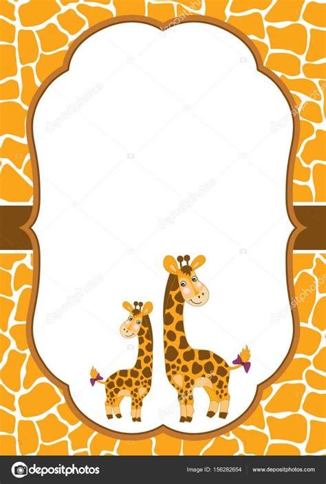 vector tarjeta plantilla  jirafas lindos sobre fondo de