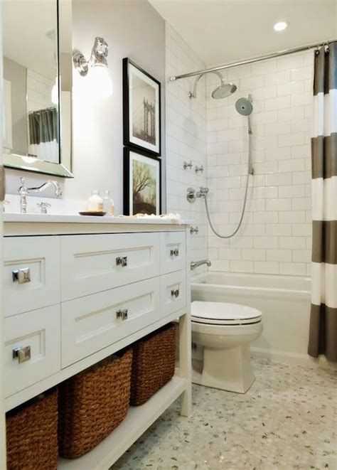 west elm vanity bright white and gray bathroom with west elm stripe