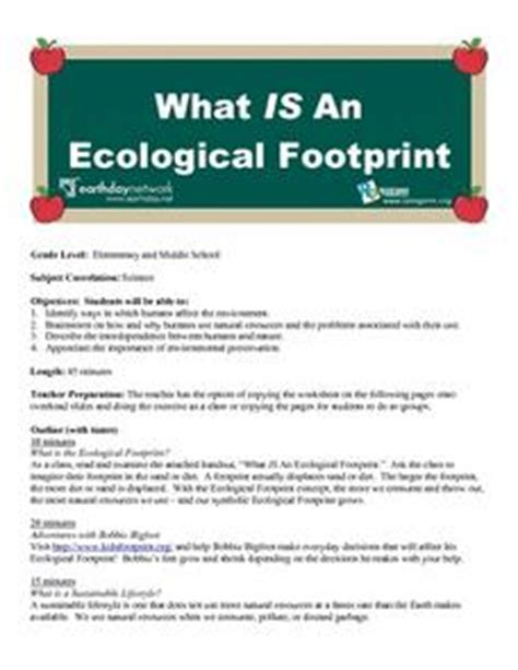 what is an ecological footprint 4th 8th grade lesson