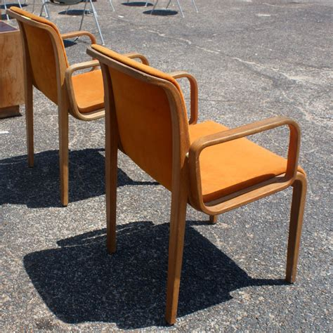 2 knoll bent wood chairs by bill stephens