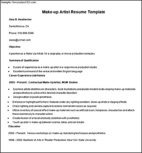 Resume Writing Exles For Makeup Artists by Sle Make Up Artist Resume Template Sle Templates