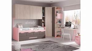 Lit Fille Avec Rangement : chambre fille avec lit gigogne compacte glicerio so nuit ~ Melissatoandfro.com Idées de Décoration