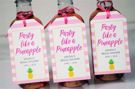Bridal Shower Favor Tags Party Like A Pineapple Mini