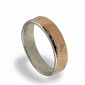 14k rose gold wedding band hammered texture wedding ring With simple wedding rings for men