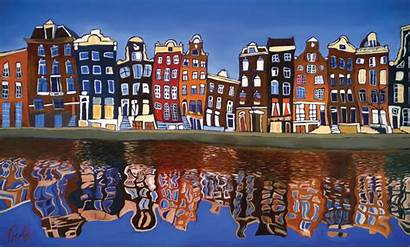 Amsterdam Canal Homes Houses Case Painting Te