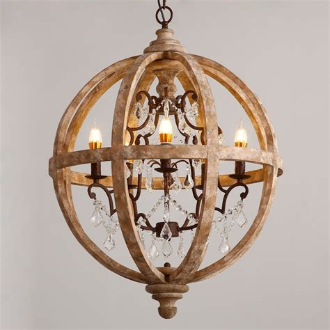Light Chandeliers by Retro Rustic Weathered Wooden Globe Caged Rust Metal