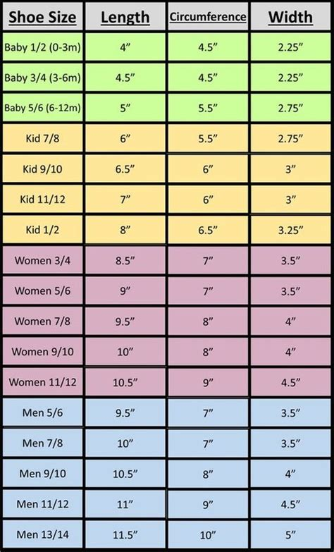 measurement charts  hats gloves  slippers hooked pinterest shoe size chart hats