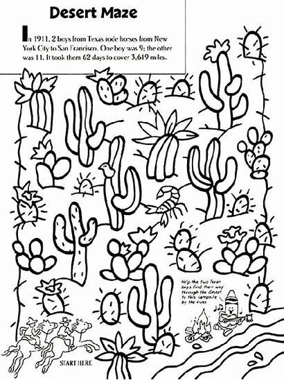 Desert Coloring Pages Maze Crayola Cactus Landscape