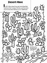Desert Coloring Pages Maze Crayola Cactus Landscape Western Printable Sheets Texas Google Biome Boys Horses Drawing River Crafts Colouring Travel sketch template