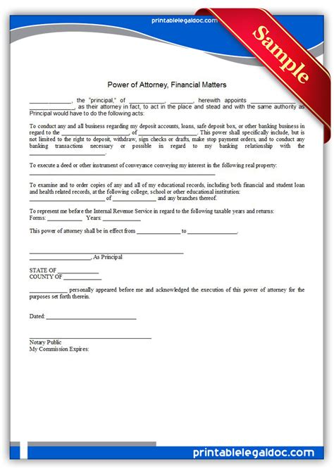 printable power of attorney forms free printable power of attorney financial matters form