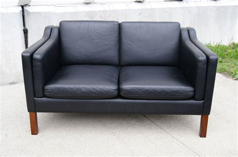 leather settee for sale black leather settee in the style of borge mogensen for