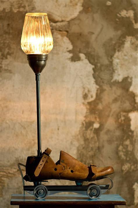 vintage roller skates lamp  studio oryx upcycledzine