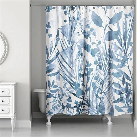Designs Direct Watercolor Floral Shower Curtain In Blue