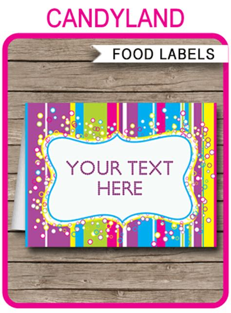 colorful food labels place cards printable editable