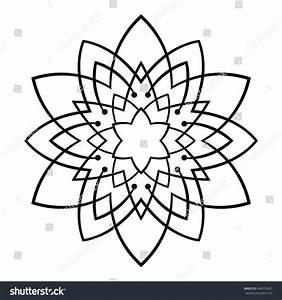 Black Outline Flower Mandala Vintage Decorative Stock