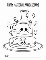 Pancake Coloring National Colouring Pancakes Crafts Rainbow sketch template