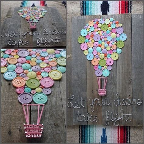 wood sign home decor buttons string art wire shabby