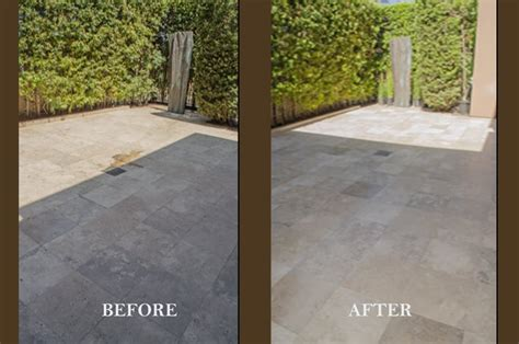 outdoor travertine patio before and after acid washing
