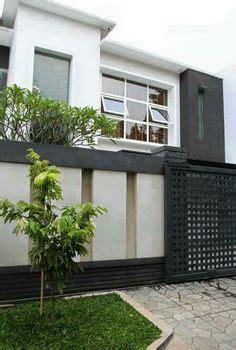 desain model pagar tembok minimalis modern elegan images house design compound wall