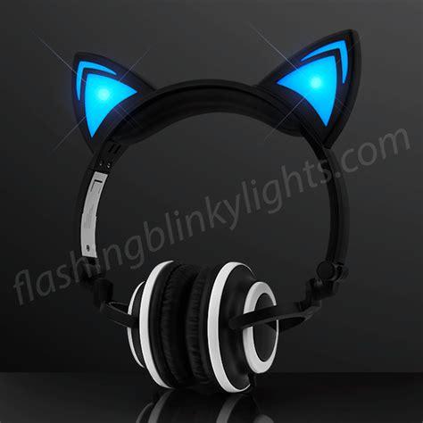 headphones with light up cat ears blue led cat ears headphones at flashingblinkylights