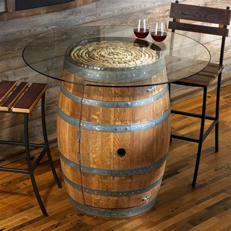Reclaimed Rustic Wine Barrel Pub Table With Round Clear