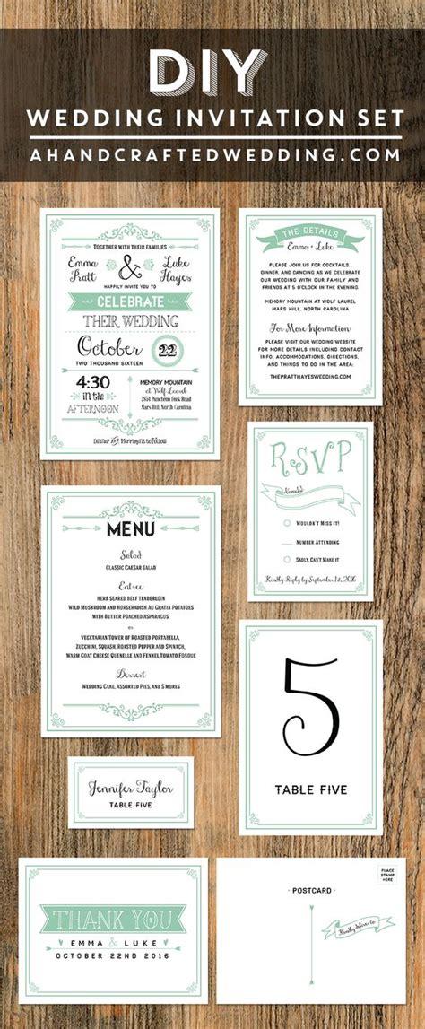 mint diy wedding invitation set ahandcraftedwedding com