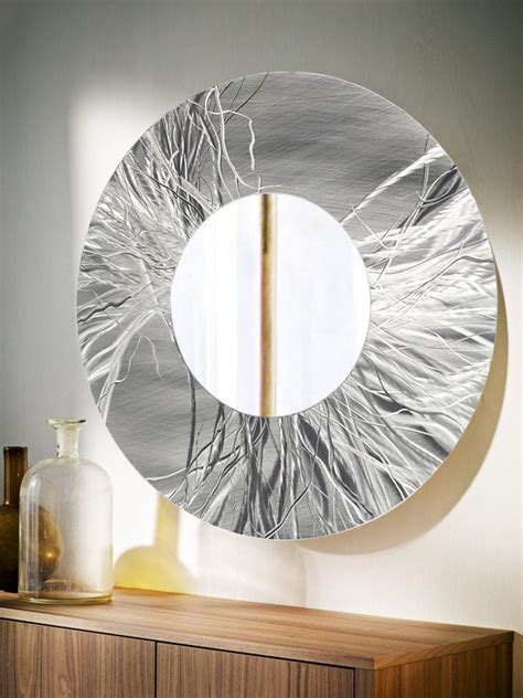 large  silver contemporary metal wall mirror art