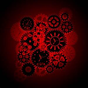 Time Clock Gears Clipart On Red Background Digital Art by ...