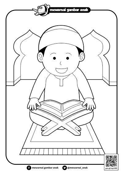 mewarnai gambar anak mewarnai gambar membaca al quran di