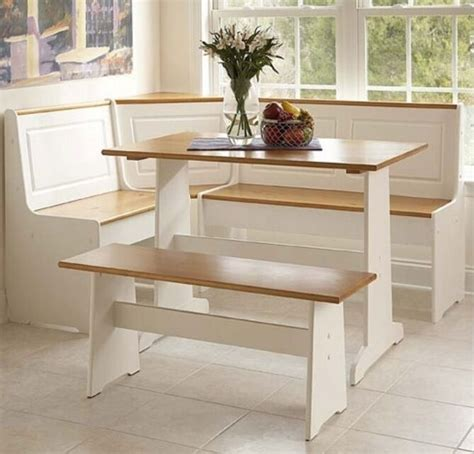 Corner Bench Kitchen Table by White Kitchen Corner Nook Set Breakfast Table Bench 3 Pc