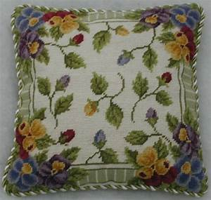 Pansy Buds Floral Needlepoint Pillow Miniature Rugs