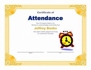 Employee Certificate Templates Free Awesome Perfect Attendance Certificate Award Template For Employee Vatansun