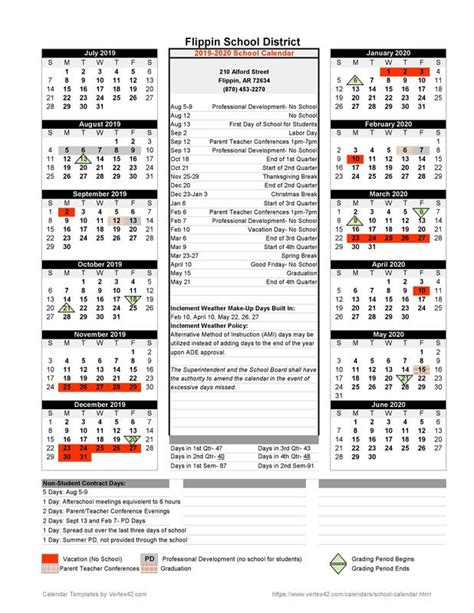 school calendar flippin public school district