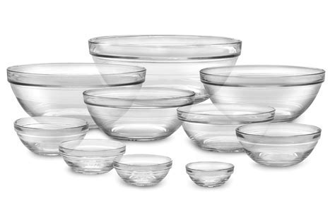 Duralex Lys Nesting Glass Bowl Set, 10 Piece   Cutlery and