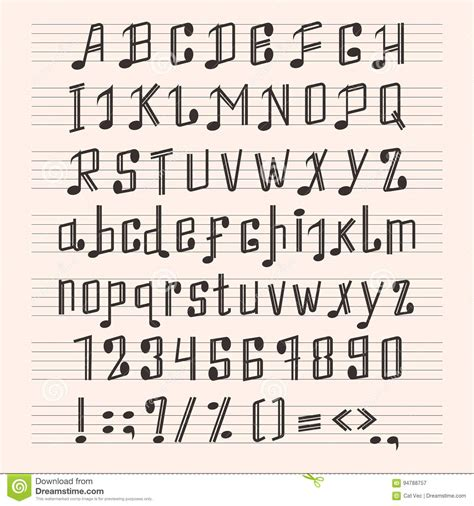 musical decorative notes alphabet font hand mark music score abc typography glyph paper book