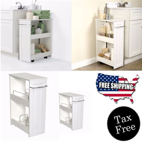 narrow wood floor rolling bathroom toilet storage cabinet