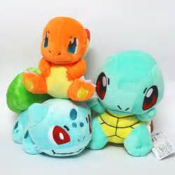 3 Pcs Set Pokemon Bulbasaur Charmander Squirtle Stuffed Plush