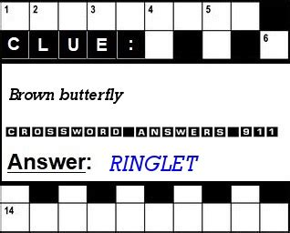 brown butterfly crossword clue crossword answers