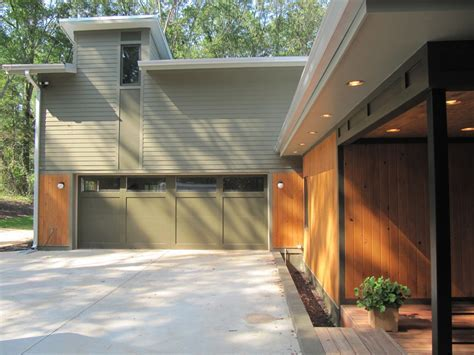 garage wall panels Exterior Contemporary with flat roof